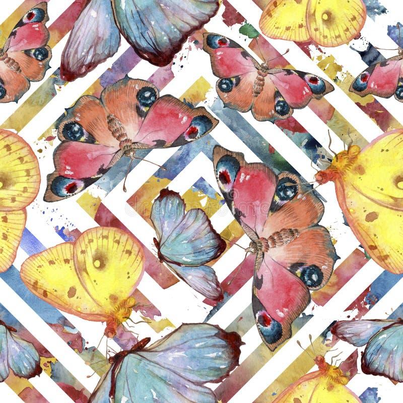 Egzotycznych motyli dziki insekt w akwarela stylu Bezszwowy tło wzór ilustracja wektor