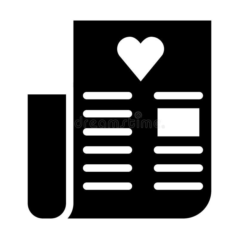 Ehegelübdekörperikone Buchstabe mit der Herzvektorillustration lokalisiert auf Weiß Liebesbrief Glyph-Artdesign stock abbildung