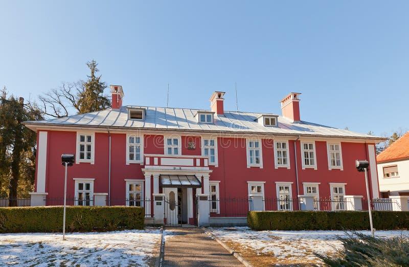Ehemalige britische Botschaft (1912) in Cetinje, Montenegro lizenzfreie stockfotografie