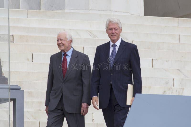 Ehemalige Präsidenten Jimmy Carter und Bill Clinton lizenzfreies stockbild