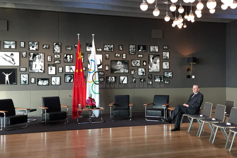 Ehemaliger Präsident Jacques Rogge des internationalen Olympischen Komitees stockfotografie
