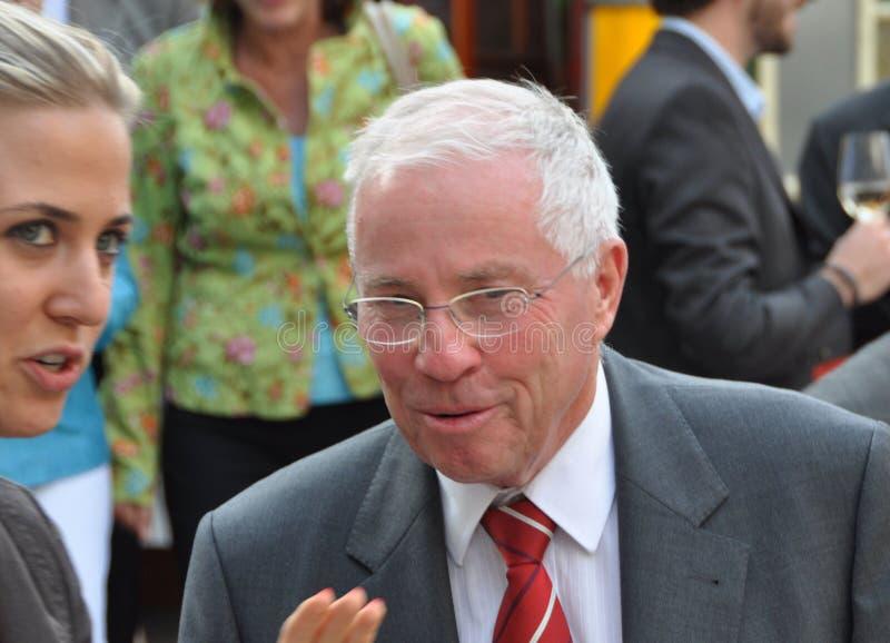 Ehemaliger Schweizer Bundesgouverneur und Kanzler Christoph Blocher, der ein Interview zum Schweizer Fernsehen am Schweizer Staat lizenzfreies stockfoto