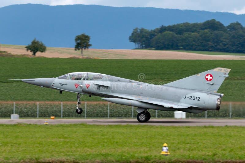 Ehemaliges Schweizer Kampfflugzeug J-2012 HB-RDF Luftwaffe Dassault-Trugbilds III stockbilder