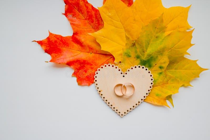 Ehering auf hölzernem Herzen auf Herbstlaubhintergrund Großaufnahme von goldenen Eheringen Herbsthochzeitskarte oder stockbild