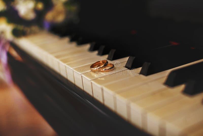 Eheringlüge auf den Klavierschlüsseln lizenzfreie stockfotografie
