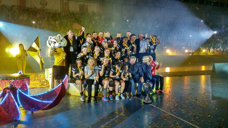 The EHF Cup final. The final of the EHF Cup 2016/17 in Rostov-on-Don. The winners of the handball tournament royalty free stock image