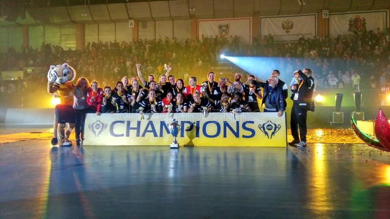 The EHF Cup final. The final of the EHF Cup 2016/17 in Rostov-on-Don. The winners of the handball tournament stock image
