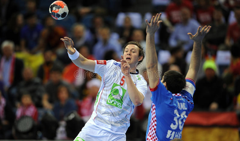 EHF EURO 2016 Croatia Norway. CRACOV, POLAND - JANUARY 29, 2016: Men's EHF European Handball Federation EURO 2016 Krakow Tauron Arena Norway Croatia o/p: Sander royalty free stock images