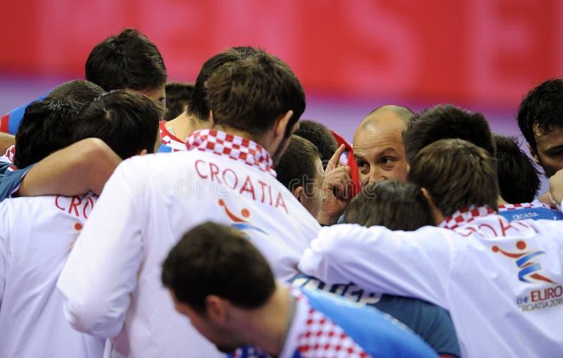 EHF EURO 2016 Croatia Norway. CRACOV, POLAND - JANUARY 29, 2016: Men's EHF European Handball Federation EURO 2016 Krakow Tauron Arena Norway Croatia o/p: Zeljko stock images