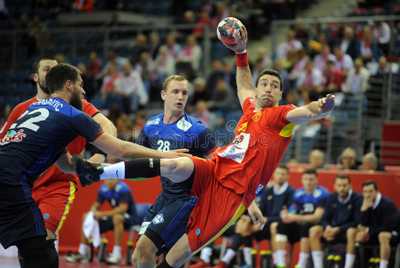 EHF EURO 2016 France Macedonia. CRACOV, POLAND - JANUARY 15, 2016: Men's EHF European Handball Federation EURO 2016 Krakow Tauron Arena Macedonia France o/p royalty free stock photo