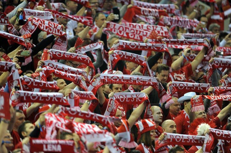 EHF EURO 2016 France Macedonia. CRACOV, POLAND - JANUARY 15, 2016: Men's EHF European Handball Federation EURO 2016 Krakow Tauron Arena Poland Serbia o/p: Polish royalty free stock image