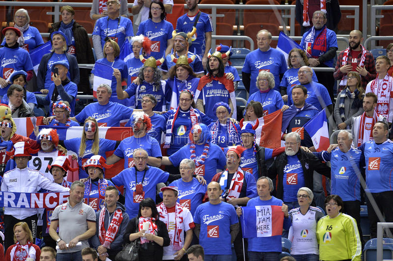 EHF EURO 2016 France Norway. CRACOV, POLAND - JANUARY 27, 2016: Men's EHF European Handball Federation EURO 2016 Krakow Tauron Arena France Norway o/p: France stock photography