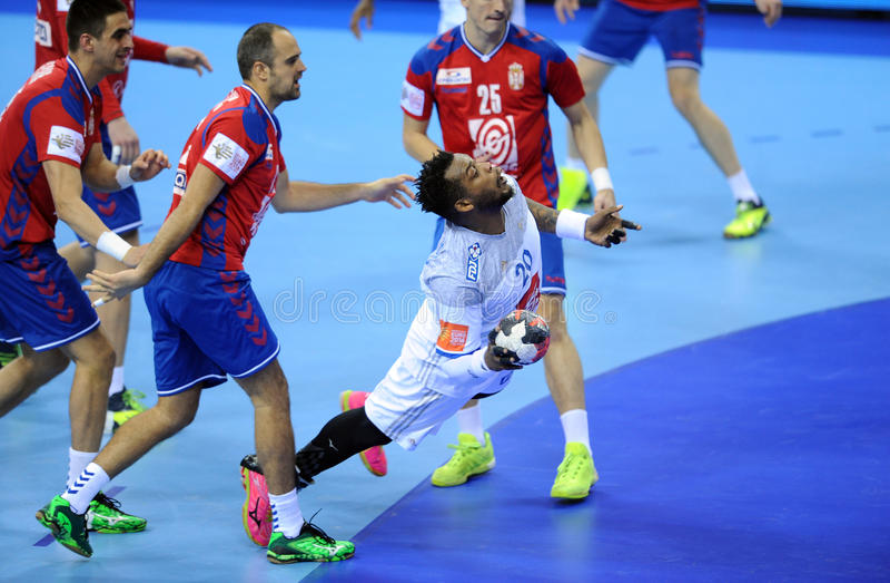 EHF EURO 2016 France Serbia. CRACOV, POLAND - JANUARY 17, 2016: Men's EHF European Handball Federation EURO 2016 Krakow Tauron Arena Serbia France o/p: Cedric royalty free stock photography