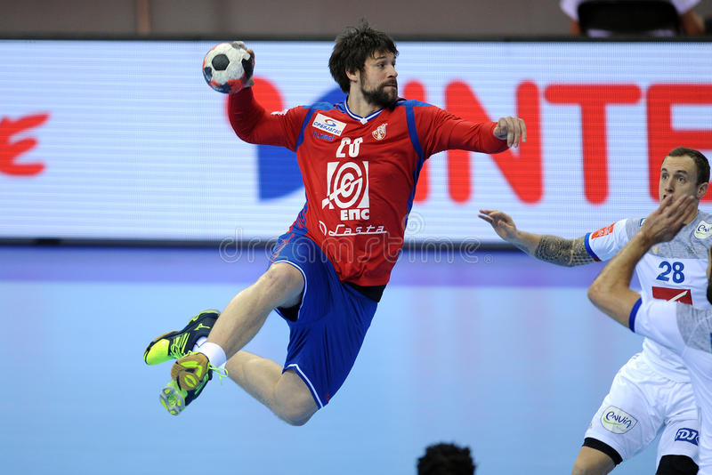 EHF EURO 2016 France Serbia. CRACOV, POLAND - JANUARY 17, 2016: Men's EHF European Handball Federation EURO 2016 Krakow Tauron Arena Serbia France o/p: Momir stock image