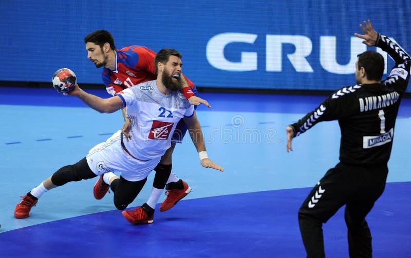 EHF EURO 2016 Frankrijk Servië stock foto's