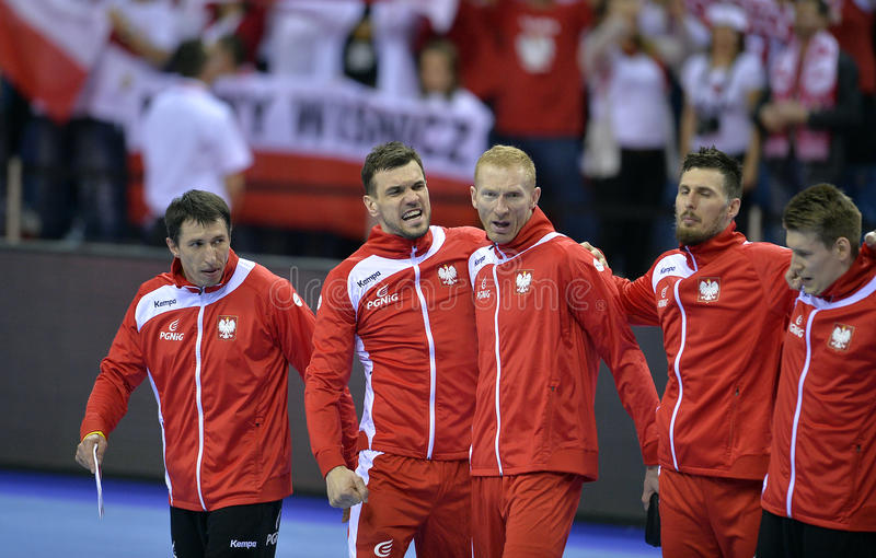 EHF EURO 2016 Poland Croatia. CRACOV, POLAND - JANUARY 27, 2016: Men's EHF European Handball Federation EURO 2016 Krakow Tauron Arena Poland Croatia o/p: Michal stock images