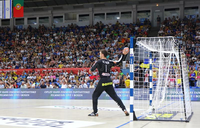 EHF EURO 2020 Qualifiers handball game Ukraine v Denmark. KYIV, UKRAINE - JUNE 12, 2019: Goalkeeper Niklas LANDIN JACOBSEN of Denmark in action during the EHF stock photo