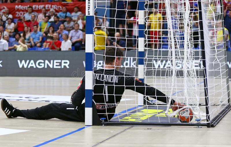 EHF EURO 2020 Qualifiers handball game Ukraine v Denmark. KYIV, UKRAINE - JUNE 12, 2019: Goalkeeper Niklas LANDIN JACOBSEN of Denmark in action during the EHF royalty free stock photography