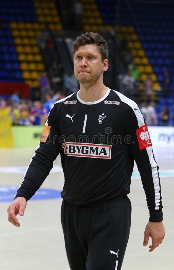 EHF EURO 2020 Qualifiers handball game Ukraine v Denmark. KYIV, UKRAINE - JUNE 12, 2019: Goalkeeper Niklas LANDIN JACOBSEN of Denmark National Handball Team royalty free stock photography