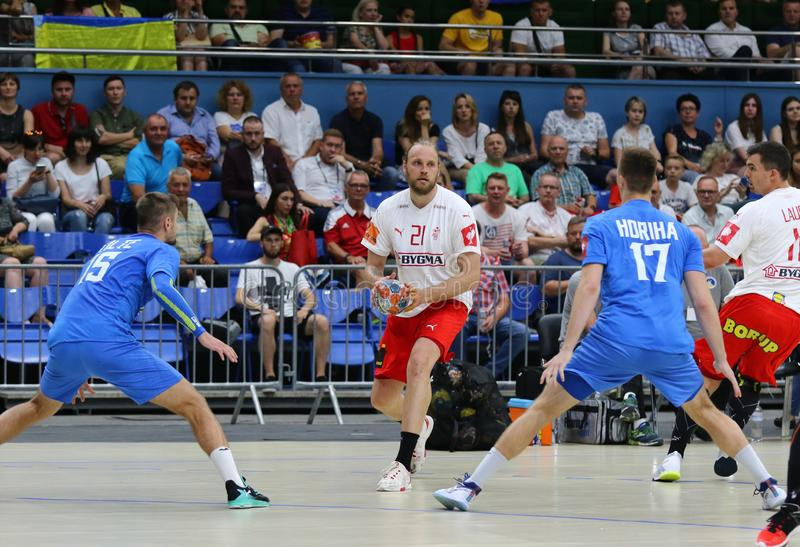 EHF EURO 2020 Qualifiers handball game Ukraine v Denmark. KYIV, UKRAINE - JUNE 12, 2019: Henrik MOLLGAARD JENSEN of Denmark controls a ball during the EHF EURO stock photography