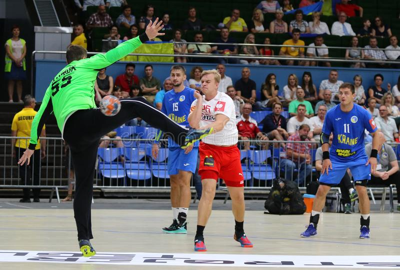 EHF EURO 2020 Qualifiers handball game Ukraine v Denmark. KYIV, UKRAINE - JUNE 12, 2019: Johan a Plogv HANSEN of Denmark #26 scores a goal during the EHF EURO stock photo