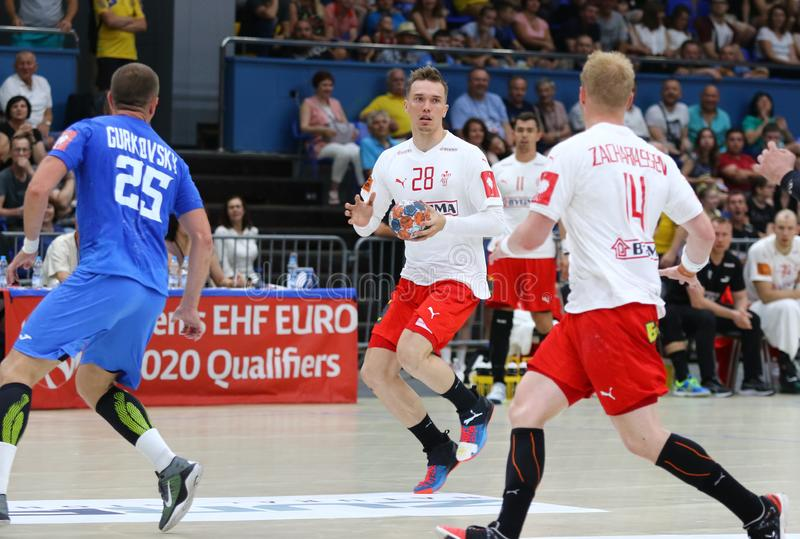 EHF EURO 2020 Qualifiers handball game Ukraine v Denmark. KYIV, UKRAINE - JUNE 12, 2019: Lasse Bredekjaer ANDERSSON of Denmark C in action during the EHF EURO stock photography