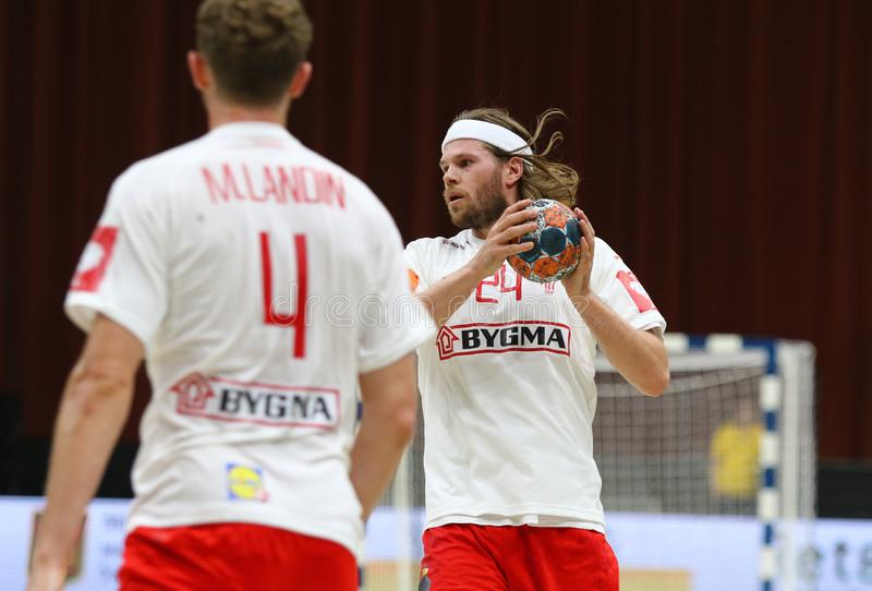 EHF EURO 2020 Qualifiers handball game Ukraine v Denmark. KYIV, UKRAINE - JUNE 12, 2019: Mikkel HANSEN of Denmark in action during the EHF EURO 2020 Qualifiers royalty free stock photography