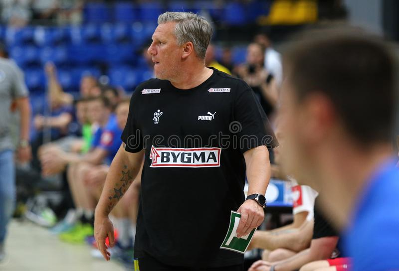 EHF EURO 2020 Qualifiers handball game Ukraine v Denmark. KYIV, UKRAINE - JUNE 12, 2019: Nikolaj JACOBSEN, head coach of Denmark National handball team during stock photo