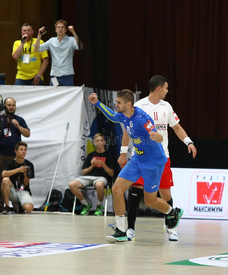 EHF EURO 2020 Qualifiers handball game Ukraine v Denmark. KYIV, UKRAINE - JUNE 12, 2019: Oleksandr TILTE of Ukraine reacts after scored a goal during the EHF stock photos