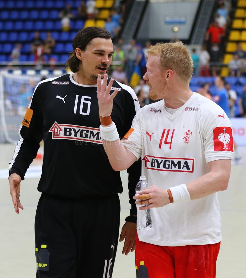EHF EURO 2020 Qualifiers handball game Ukraine v Denmark. KYIV, UKRAINE - JUNE 12, 2019:Handball players Jannick GREEN KREJBERG and Anders ZACHARIASSEN of royalty free stock image
