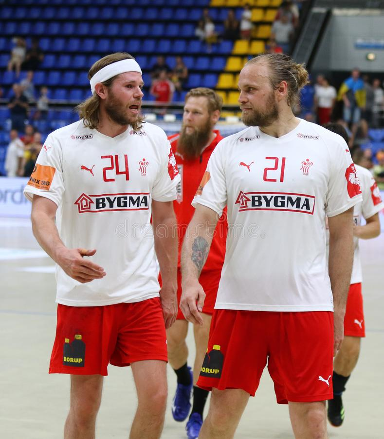 EHF EURO 2020 Qualifiers handball game Ukraine v Denmark. KYIV, UKRAINE - JUNE 12, 2019: Handball players Mikkel HANSEN and Henrik MOLLGAARD JENSEN of Denmark royalty free stock image