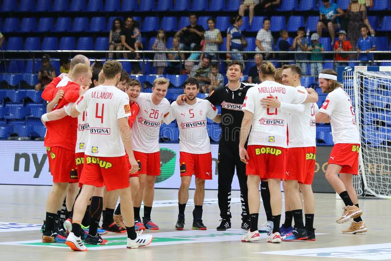 EHF EURO 2020 Qualifiers handball game Ukraine v Denmark. KYIV, UKRAINE - JUNE 12, 2019: Players of Denmark National handball team react after the EHF EURO 2020 stock photos