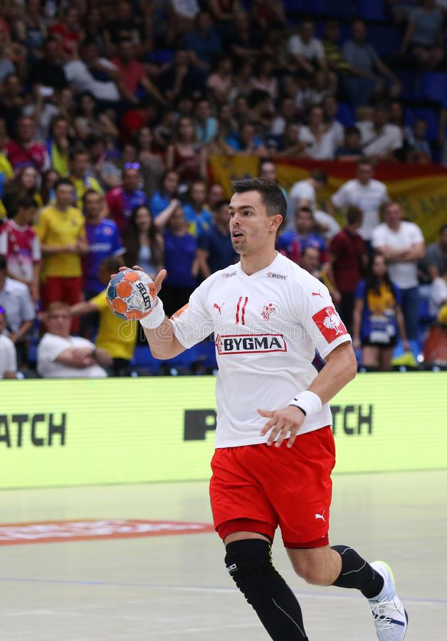 EHF EURO 2020 Qualifiers handball game Ukraine v Denmark. KYIV, UKRAINE - JUNE 12, 2019: Rasmus LAUGE SCHMIDT of Denmark controls a ball during the EHF EURO 2020 stock photography