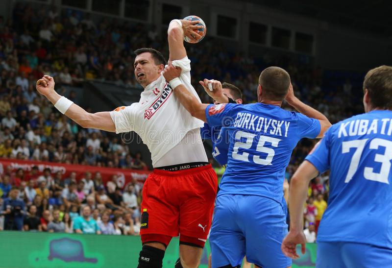 EHF EURO 2020 Qualifiers handball game Ukraine v Denmark. KYIV, UKRAINE - JUNE 12, 2019: Rasmus LAUGE SCHMIDT of Denmark throws a ball during the EHF EURO 2020 stock photography