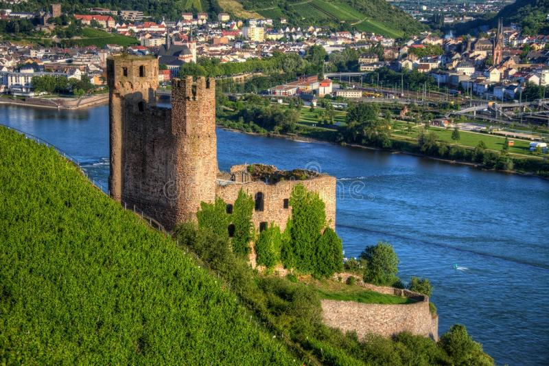 Ehrenfels城堡、城镇Ehrenfels莱茵河的在Ruedesheim附近和莱茵河畔宾根,黑森,德国 库存照片