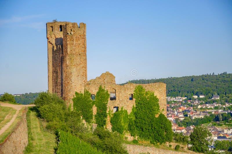 Ehrenfels-Schloss, Burg Ehrenfels auf dem Rhein nahe Ruedesheim und Bingen morgens Rhein, Hessen, Deutschland stockfotografie