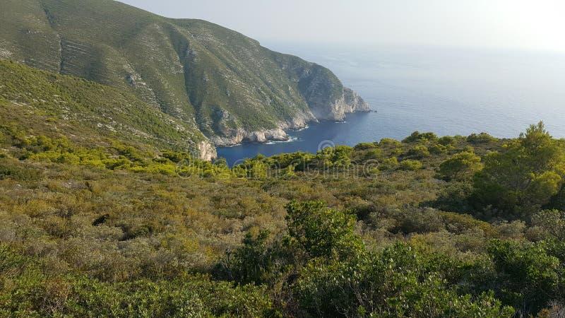 Ehrfürchtige Ansicht von der Spitze des Hügels, Zakynthos, Griechenland stockfoto