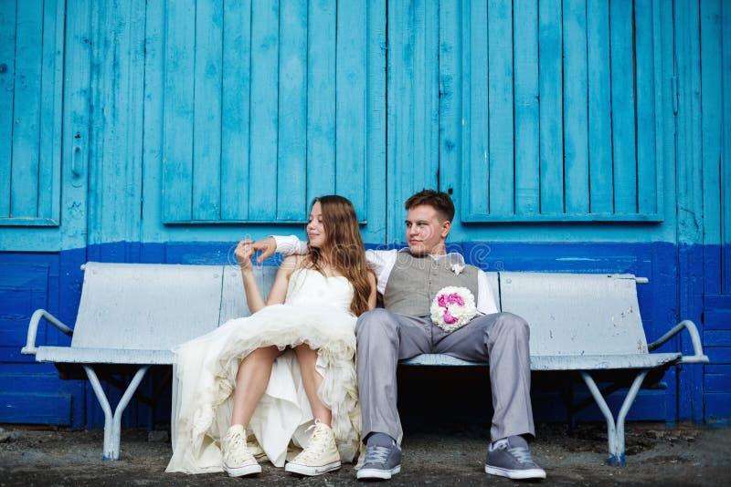 Ehrfürchtige junge Hochzeitspaaraufstellung stockbild