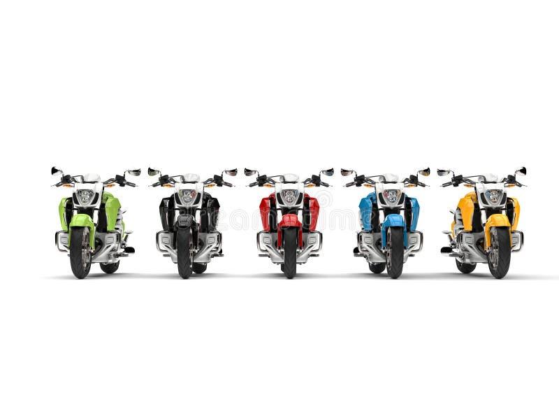 Ehrfürchtige moderne Zerhackerfahrräder - Vorderansicht vektor abbildung