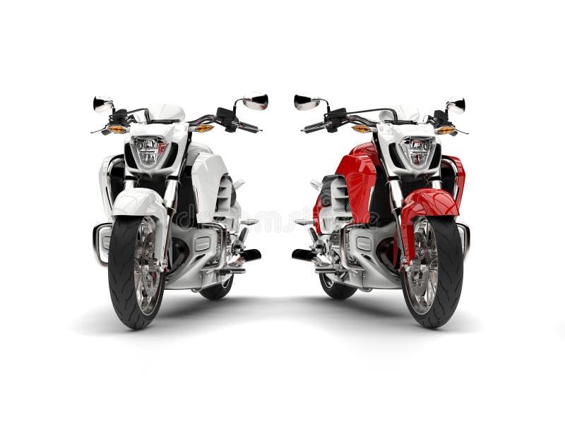 Ehrfürchtige rote und weiße Zerhackerfahrräder vektor abbildung