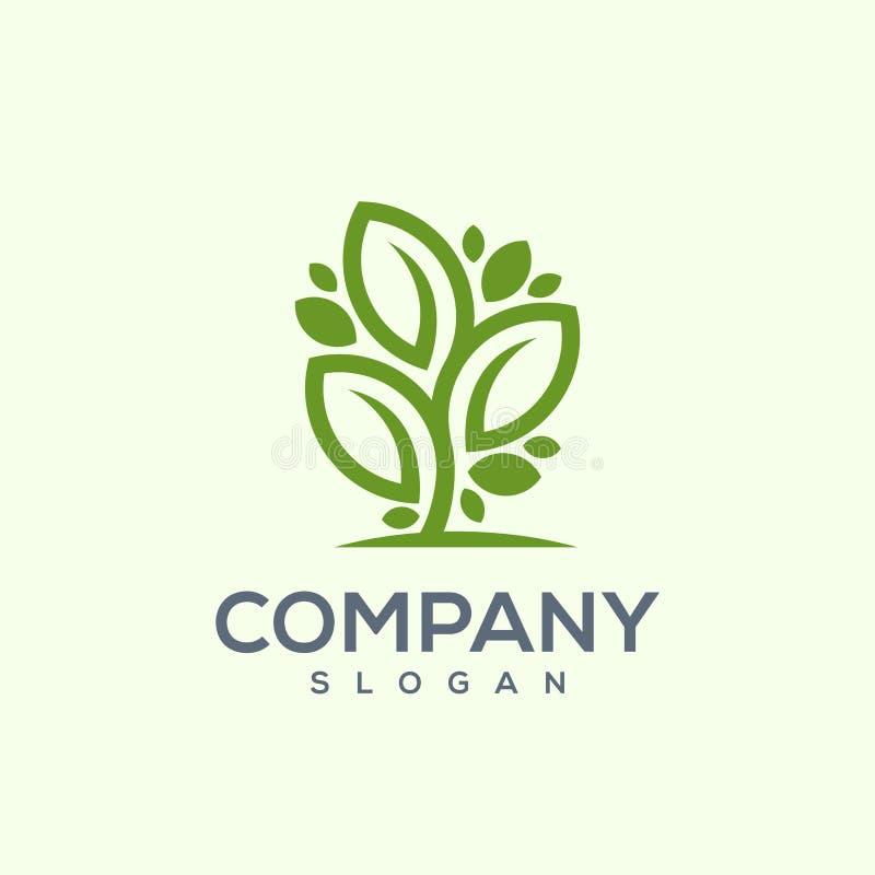 Ehrfürchtiger Baumblatt-Logoentwurf stock abbildung
