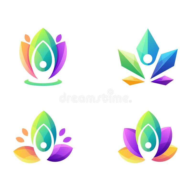 Ehrfürchtiger bunter Yogalogoentwurf lizenzfreie abbildung