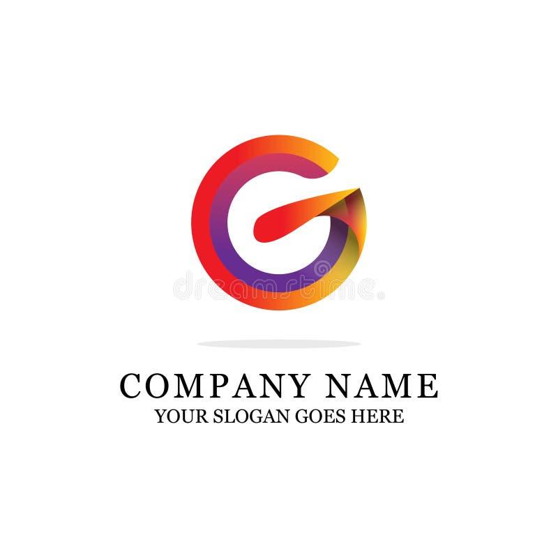 Ehrfürchtiger G-Buchstabe-Logo-Entwurfs-moderner Anfangsvektor für Steigungsfarbe stock abbildung