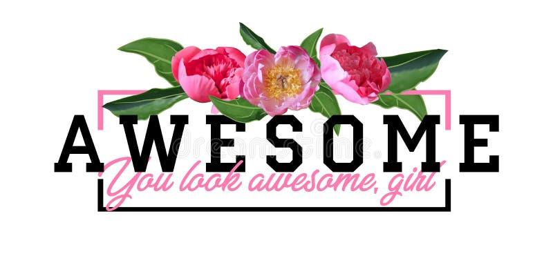 Ehrfürchtiger Slogan mit Blumenillustration Beschriften der Typografie für T-Shirt Entwurf, Geburtstagsfeier, Grußkarte, Parteiei lizenzfreie abbildung