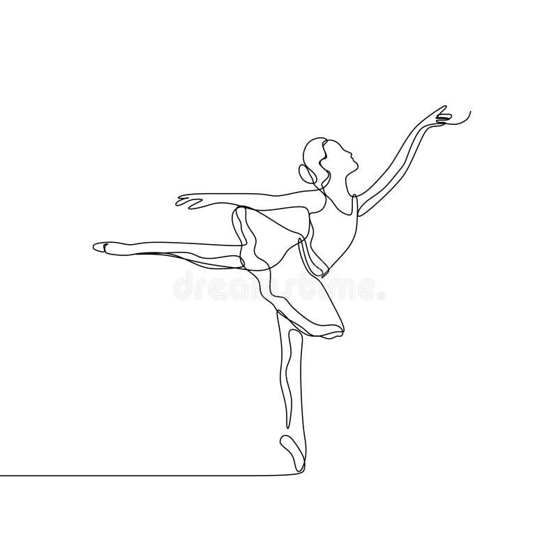 Ehrfürchtiges Ballerinamädchentanzen für die Kunst, die ununterbrochenes Federzeichnungsvektor der Vektorillustration durchführt stock abbildung