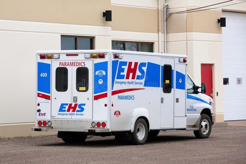 EHS Emergency Vehicle. Brookfield, Canada - December 09, 2015: EHS Vehicle. Emergency Health Services, or EHS, provides emergency and primary health care outside stock image