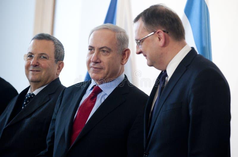 Ehud Barak, Benjamin Netanjahu e Petr Necas foto de stock