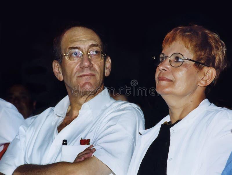 Ehud Olmert y Aliza Olmert foto de archivo libre de regalías