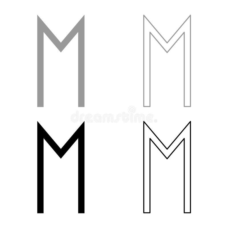Ehwaz rune wheell szczęścia symbolu ikony setu koloru ilustracji konturu mieszkania końskiego popielatego czarnego stylu prosty w royalty ilustracja