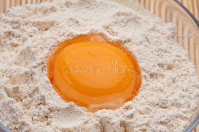 Ei auf Mehl stockbild